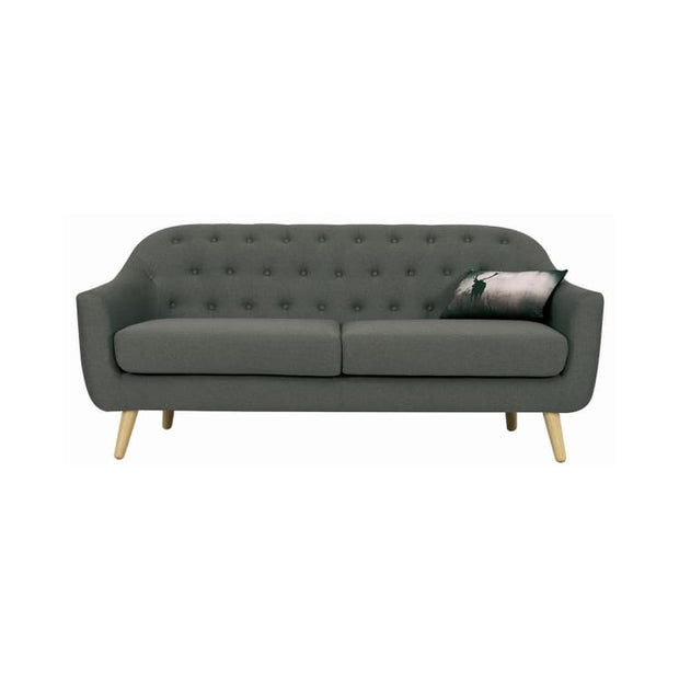 Senku 3 Seater Sofa with Oak Leg, Grey - Home And Style