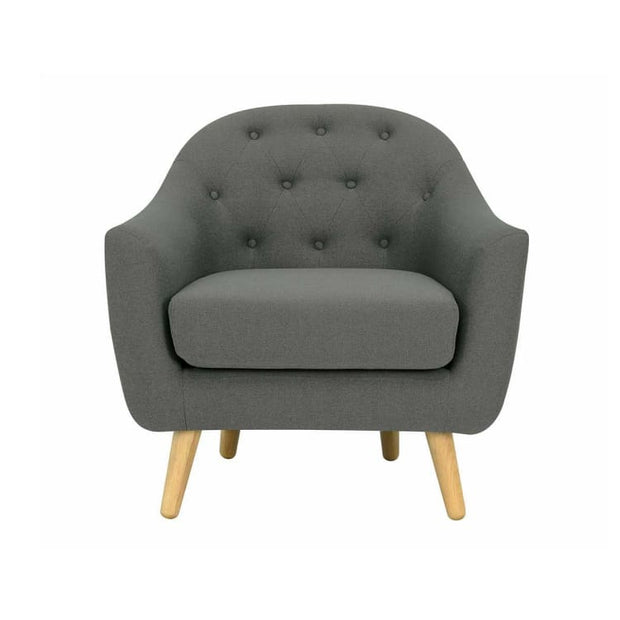 Senku Armchair with Oak Leg, Grey - Home And Style