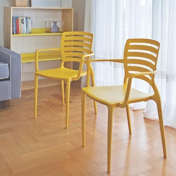 Sofia Armchair Horizontal Backrest Yellow by Tramontina - Home And Style