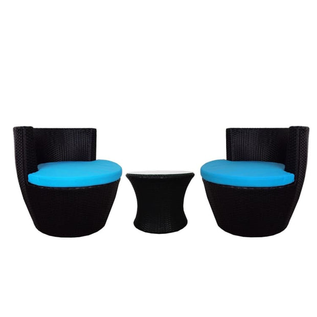 Stackable Patio Set, Blue Cushions by Arena Living - Home And Style