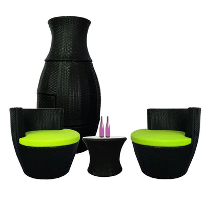 Stackable Patio Set, Green Cushions by Arena Living - Home And Style
