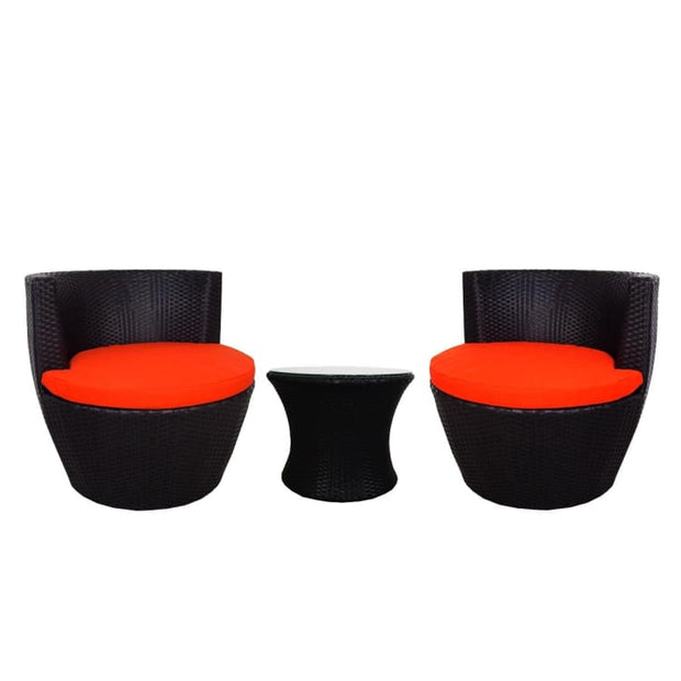 Stackable Patio Set, Orange Cushions by Arena Living - Home And Style