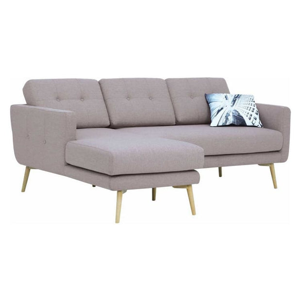 Stream 3 Seater Sofa with Left Chase with Oak Leg, Brown Colour - Home And Style