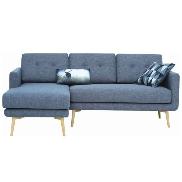 Stream 3 Seater Sofa with Left Chase with Oak Leg, Seal - Home And Style