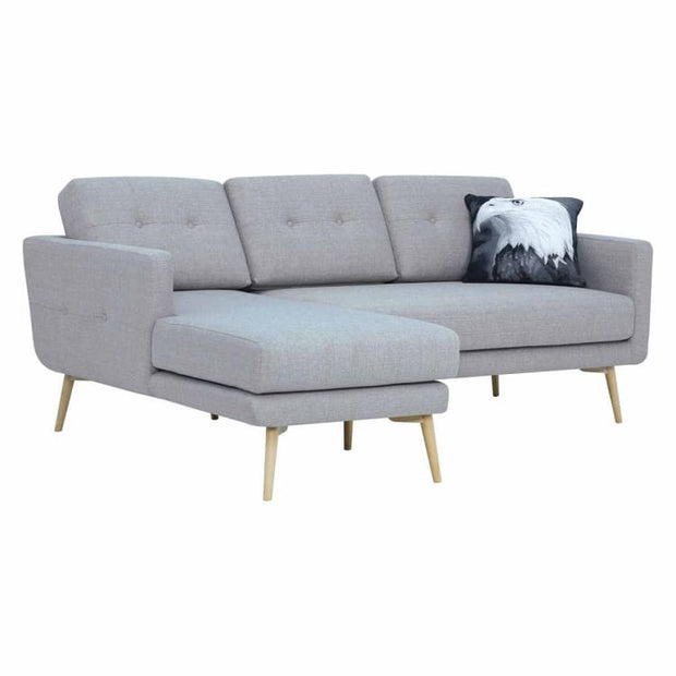 Stream 3 Seater Sofa with Left Chase with Oak Leg, Timberwolf - Home And Style