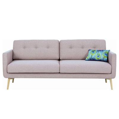Stream 3 Seater Sofa with Oak Leg, Brown - Home And Style