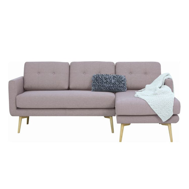Stream 3 Seater Sofa with Right Chase with Oak Leg, Brown - Home And Style