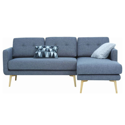 Stream 3 Seater Sofa with Right Chase with Oak Leg, Seal - Home And Style