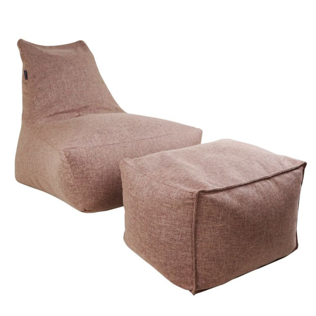 Vetro Bean Bag + Ottoman in Coffee Brown - Home And Style