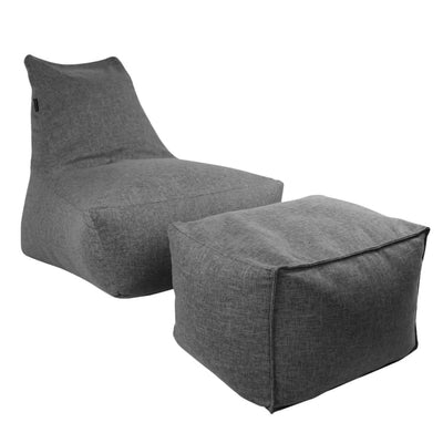 Vetro Bean Bag + Ottoman in Grey - Home And Style