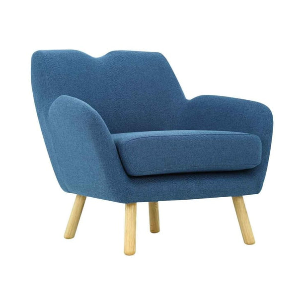 Wagon Armchair with Oak Leg, Midnight Blue - Home And Style