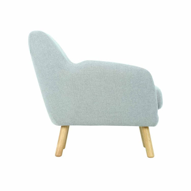Wagon Armchair with Oak Leg, Pale silver - Home And Style