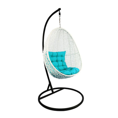 White Cocoon Swing Chair, Blue Cushion by Arena Living - Home And Style