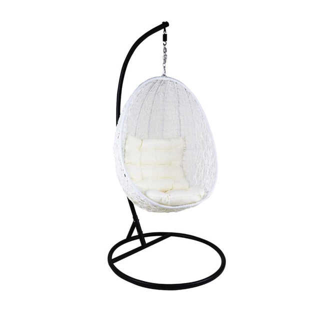 White Cocoon Swing Chair, White Cushion by Arena Living - Home And Style