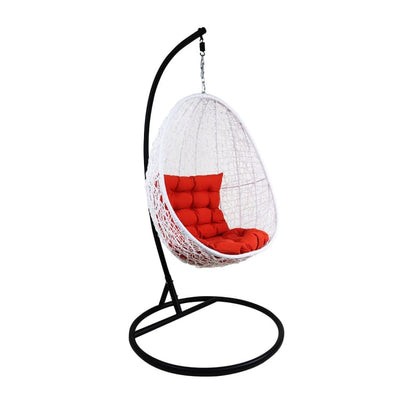 White Cocoon Swing Chair, Orange Cushion by Arena Living - Home And Style