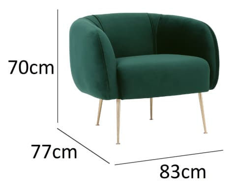 Alero Armchair with Gold-Plated Leg Dark Green