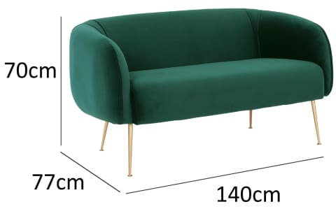 Alero 2 Seater Sofa with Gold-Plated Leg Dark Green