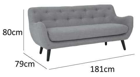 Alfa 3 Seater Grey Fabric Sofa