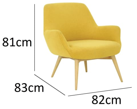 Berlingo Lounge Chair with Oak Leg Yellow
