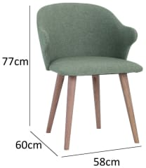 Ceyla Dining Chair With Cocoa Colour Leg Battleship Grey