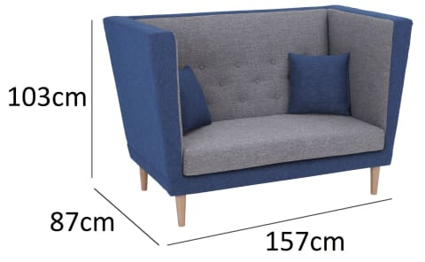 Dasher 2 Seater Sofa with Oak Leg Midnight Blue