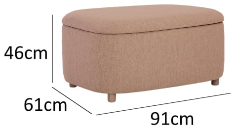 Daytona Large Storage Pouf with Oak leg Oak Brown