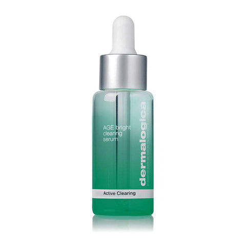 A bottle of Dermalogica Age Bright Serum Active Clearing with dropper cap