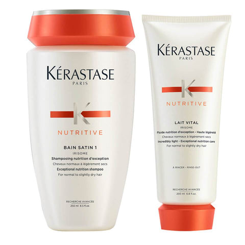 Kerastase Nutritive Bain Satin 1 Shampoo 250 ML & Lait Vital Conditioner 200 ML