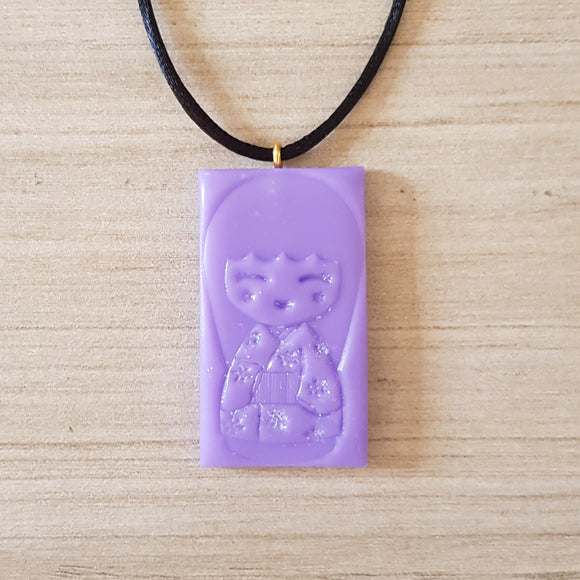 Kokeshi Doll Pendant - Purple