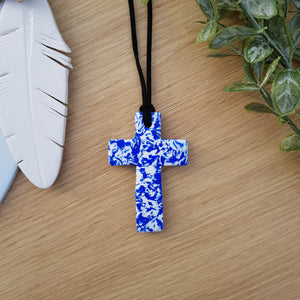 Blue and White Marble Cross Pendant