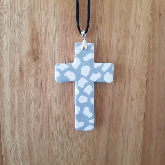 Grey and White Cross Pendant
