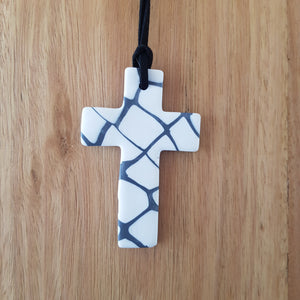 Grey and White Patterned Cross Pendant
