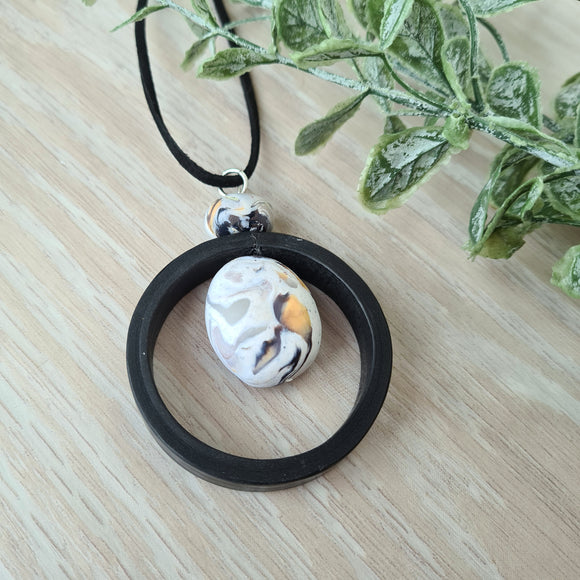Natural Pebble Circle Pendant