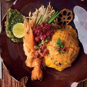 Fried Rice Noodles with River Prawn wrapped in Egg Net - Anantara Siam Bangkok Hotel