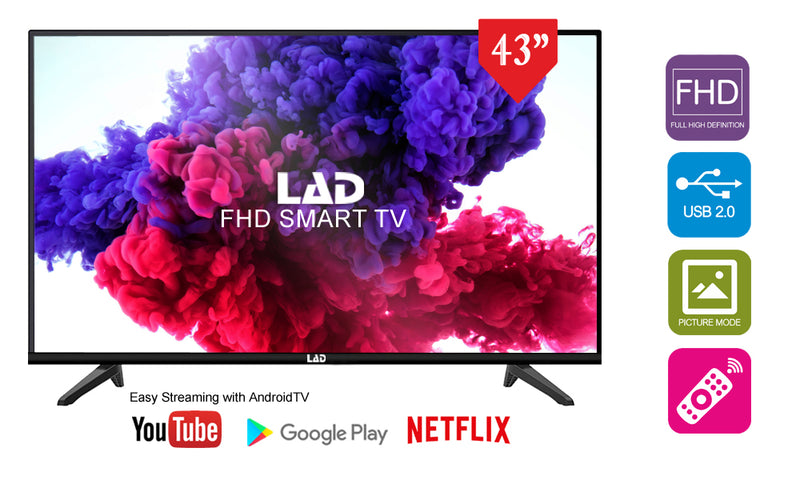 "iPhone 8 Refurbished, LAD 43"" FHD Smart TV & Ministry 006 Bluetooth Speaker combo 