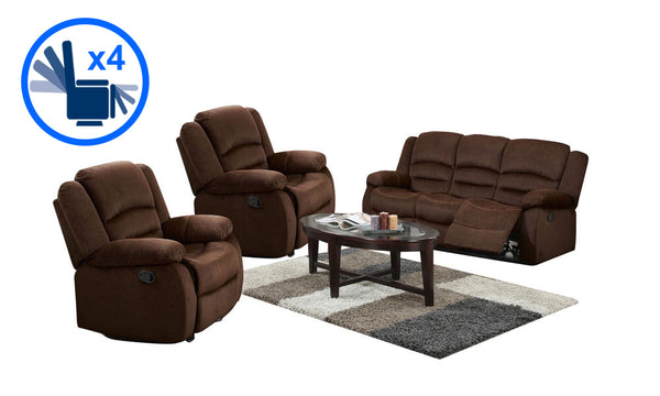 Bailey 3pce Recliner Lounge Suite - Layaway Depot NZ