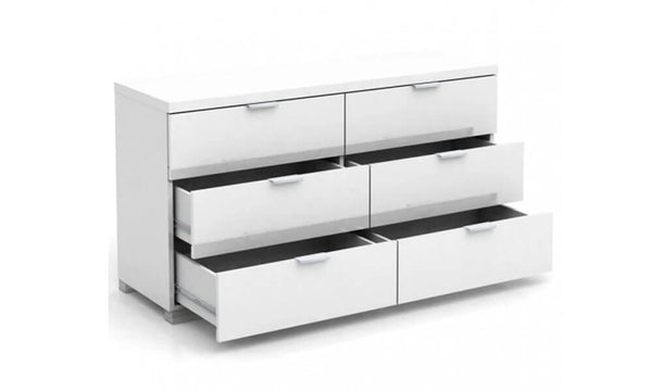 Alexia 6 Drawer Lowboy - White