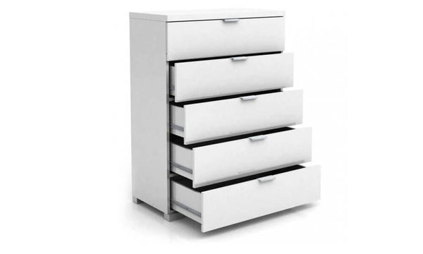 Alexia 5 Drawer Tallboy - White