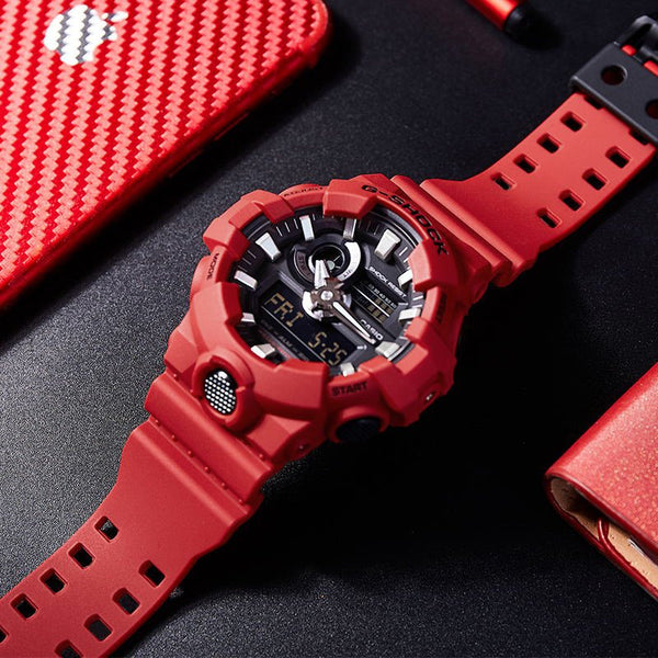 Casio Men's G Shock Quartz Resin Casual Watch Red