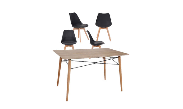 Zara Dining Table & 4 Black Dining Chairs - Layaway Depot NZ