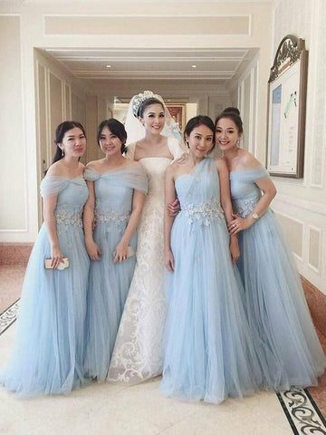 e4983d7149 ... 1. https   veryprom.com products a-line-off-shoulder-sky-blue -mismatched-tulle-long-bridesmaid-dresses-with -appliques-vpwg212 variant 16948964294771