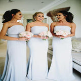 2019 Beautiful Vogue Strapless Light Grey Long Bridesmaid Dresses, VPWG004
