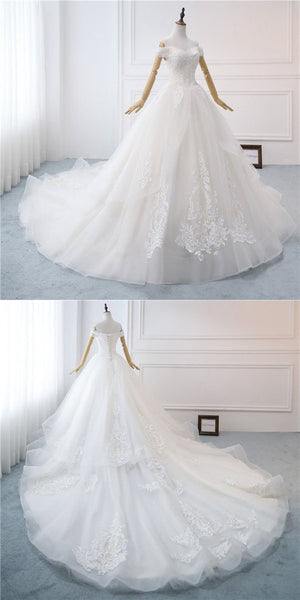 2019 A-Line White Off Shoulder Long Wedding Dresses With Lace,Custom Made Wedding Dresses,Affordable Wedding Dresses Online,VPWD001