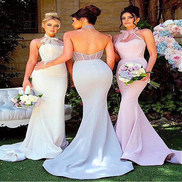Graceful Pretty Acetate Satin Halter Neckline With Pleats Sheath Bridesmaid Dresses,VPWG010