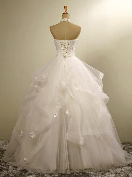 Charming A-Line Halter Floor-Length Wedding Party Dresses With Hand Made Flower,VPWD101