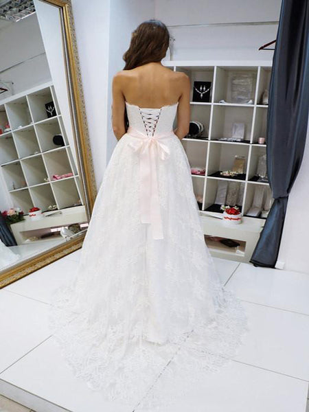 Fabulous White Lace Wedding Bridal Gowns,Long Wedding Gowns With Lace Up Back,VPWD102