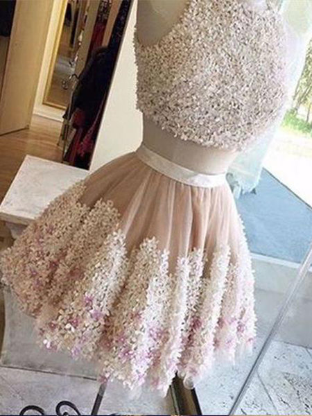 Gorgeous Champagne A-Line Short Off Shoulder Homecoming Dresses With Appliques,Cheap Tulle Homecoming Dresses With Lace Up Back,VPBD103