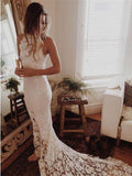 Elegant Lace Jewel Neckline Chapel Train Sheath Wedding Dresses ,Custom Made Wedding Dresses,VPWD105