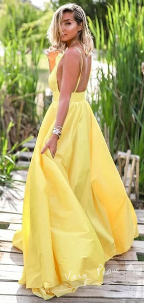 Simple A-Line V-Neck Spaghetti Straps Backless Cheap Long Prom Dresses,VPPD1063