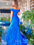 Mermaid Off Shoulder Split Side Royal Blue Cheap Long Prom Dresses,VPPD1064